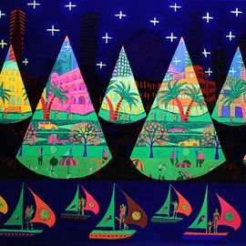 Raphael Perez  Israeli Painter : 'ultra violet lighting', 2017 Acrylic Painting, Landscape. Artist Description: Bright colors and ultraviolet lighting naive art paintings naife artworks ...