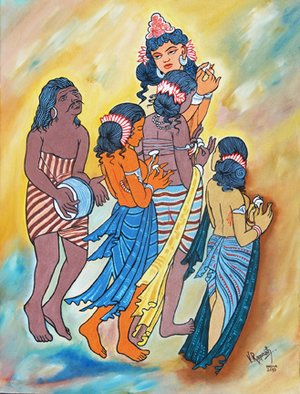 Music Oil Painting by Ragunath Venkatraman Title: AJANTA PAINTINGS ALIVE TODAY, created in 2010