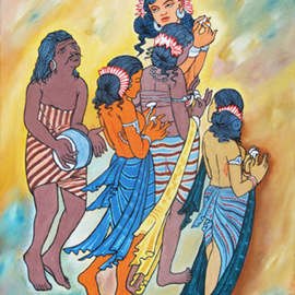 Ragunath Venkatraman Artwork AJANTA PAINTINGS ALIVE TODAY, 2010 Oil Painting, Music