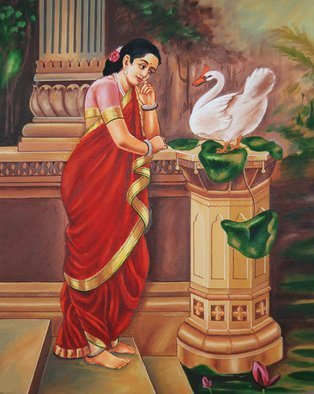 Ragunath Venkatraman: 'Hamsa Damayanthi', 2012 Oil Painting, Communication. Artist Description:  Hamsa Damayanthi- beautifulRavi Varmapainting replicaPrincess Damayanthi talking with Royal Swan about Nalan. The story is a side story of the epic MAHABHARATHAM. Nala is a king belonging to the Chandravamsha. He falls in love with Damayanti, the daughter of King Bhima of Vidarbha. Nala is inflamed with ...