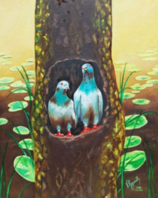 Birds Oil Painting by Ragunath Venkatraman Title: LOVE BIRDS, created in 2010