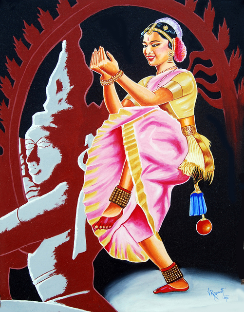 Ragunath Venkatraman  'Divine Dance Of Bharathanatyam', created in 2016, Original Painting Oil.
