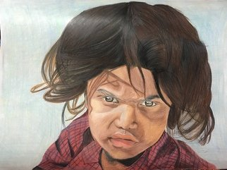 Rajinder Singh: 'my rights', 2018 Pencil Drawing, Children. Artist Description: Poverty leads to anger and ask questions to society, God didn t made rich and poor than who does ...