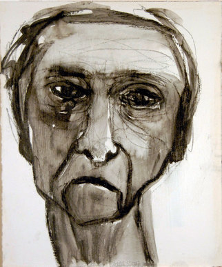 Charles Rajkovic Artwork Face No 4, 2010 Charcoal Drawing, People