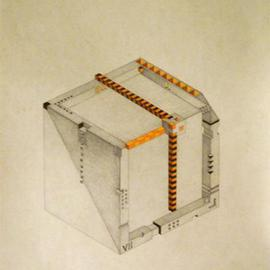 Dmitry Rakov: 'Cubic clock', 2006 Pencil Drawing, Geometric. Artist Description: Cubic clock ( 9- 00) ( 2004- 2006)The style - IMP ART ( Impossible ART)Graphic: Indian ink + pencil + crayonPaper: stamping