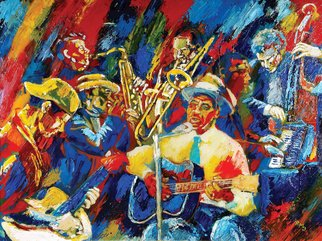 Ralph Megginson Artwork blues session, 2016 Acrylic Painting, Music