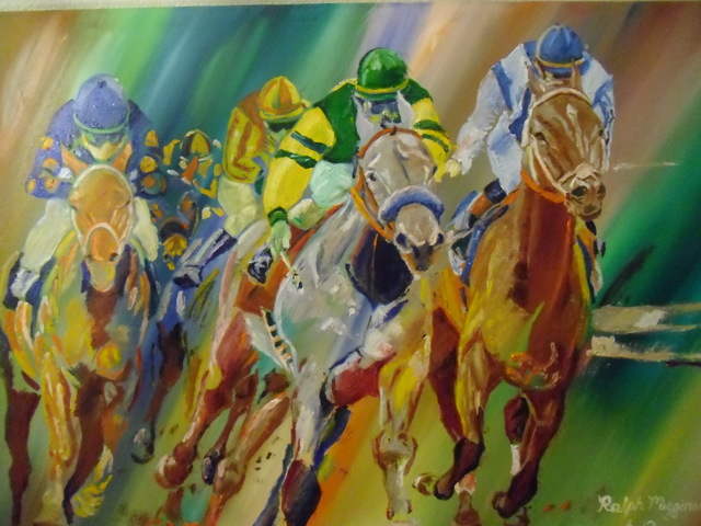 Ralph Megginson: horseracing, 2015 Oil Painting