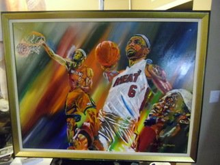 Ralph Megginson: 'lebron james', 2017 Acrylic Painting, Abstract Figurative. Artist Description: Abstract painting of Lebron James...