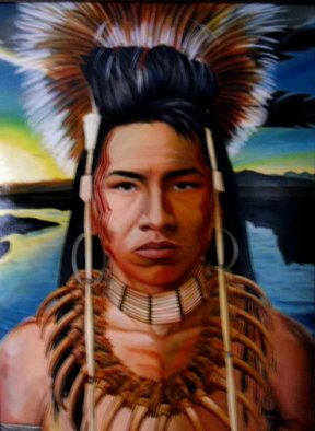 Ralph Megginson Artwork ojibwe warrior, 2015 Oil Painting, Portrait