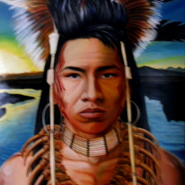 Ralph Megginson: 'ojibwe warrior', 2015 Oil Painting, Portrait. Artist Description: Ojibwe warrior with bearclaw necklace on...