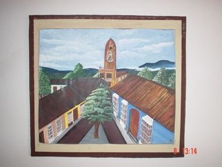 Ramona Marquez Ramraj: 'Church and Town', 2002 Acrylic Painting, Architecture.