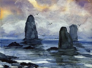 Randy Sprout: 'Cape Horn Overcast', 2019 Watercolor, Seascape. Artist Description: Rounding Cape Horn this desolete rocks have been the graves for many ships ...