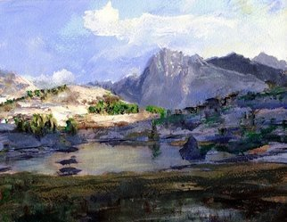 Randy Sprout: 'High Lake', 2015 Acrylic Painting, Mountains. Artist Description:  9X12 Acrylic Sketch on # 140 Strathmore ...