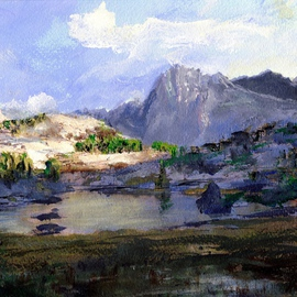 Randy Sprout Artwork High Lake, 2015 Acrylic Painting, Mountains