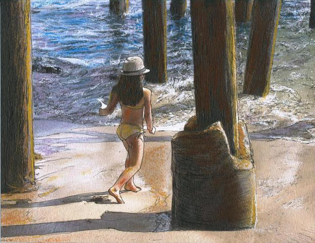 Randy Sprout  'Little Jessica And Her Hat Malibu Pier', created in 2011, Original Drawing Pastel.