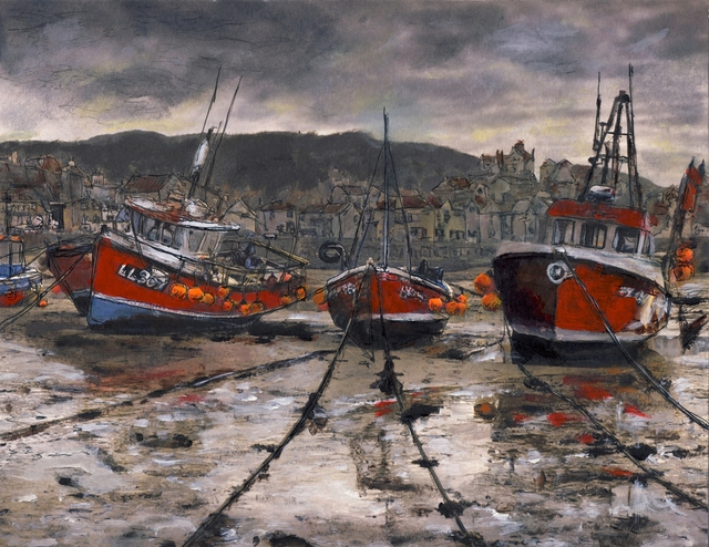 Randy Sprout  'Staithes Low Tide', created in 2011, Original Drawing Pastel.