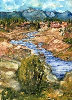 Randy Sprout: 'eaton canyon high dsert creek', 2020 Watercolor, Landscape. 12X9 Water Color on  140 Arches Hot Pressed: Done while on a hike up Eaton Canyon towards the falls. ...