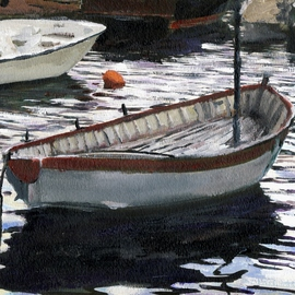 Randy Sprout: 'ing Fish Boat Positano', 2012 Acrylic Painting, Boating. Artist Description:    6X6 Inch Acrylic on # 140 Strathmore Water Color Paper: This is a new one from my last trip to Italy, painted after the sun had set. It's off to Randy Higbee's show. ...