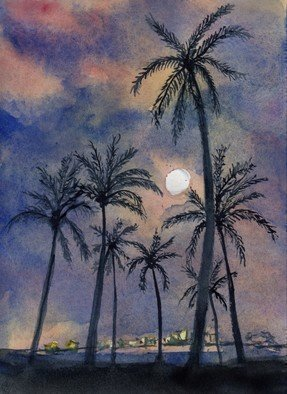 Randy Sprout: 'moonlight over key west', 2018 Painting, Seascape. Artist Description: 7X5 Water Color on  140 Arches Hot Pressed done as a demo on a Cruise ship...