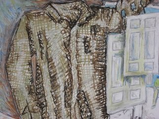 Randy King: 'Doors Hung on a Shirt', 2009 Oil Pastel, Surrealism.  This piece plays with opposites. Instead of the shirt hanging on the door the door is hanging on the shirt. ...