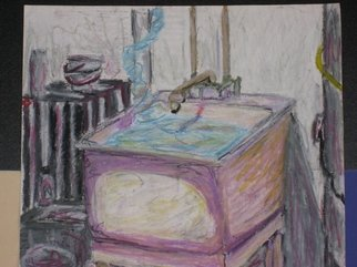 Randy King: 'Sink 2: The Water Acts Irregardless', 2009 Oil Pastel, Surrealism.  This piece plays with physics. Instead of the water going down the drain it goes up into the air. ...