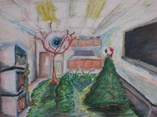 Randy King: 'The Plants Have Eyes', 2009 Oil Pastel, Surrealism.  If plants had eyes would they look back at you? ...