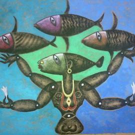 Ranjith Raghupathy: 'FISHER WOMAN', 2009 Acrylic Painting, Figurative. Artist Description:     FUSION OF TANTRIC ART WITH MODERN SYMMETRICAL ABSTRACTS    ...