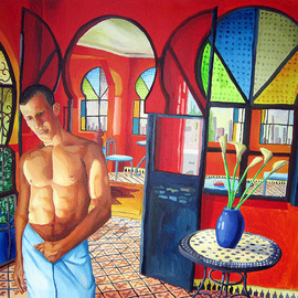 Rafi Perez: 'erotic male nude painting gay art ', 2016 Acrylic Painting, Figurative. Artist Description:  large colorful painting art        ...