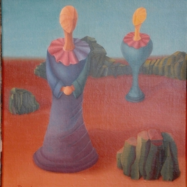 Raquel Davidovici: 'Enigma', 1984 Oil Painting, Surrealism.