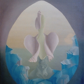 Raquel Davidovici Artwork On the  begining, 1978 Oil Painting, Surrealism