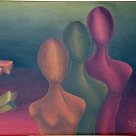 Raquel Davidovici Artwork figuras solitarias, 1973 Oil Painting, Surrealism