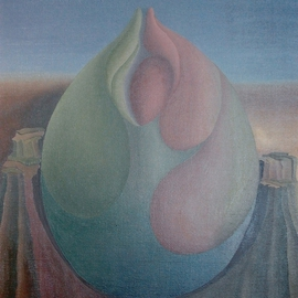 Raquel Davidovici: 'gestation', 1977 Oil Painting, Surrealism.