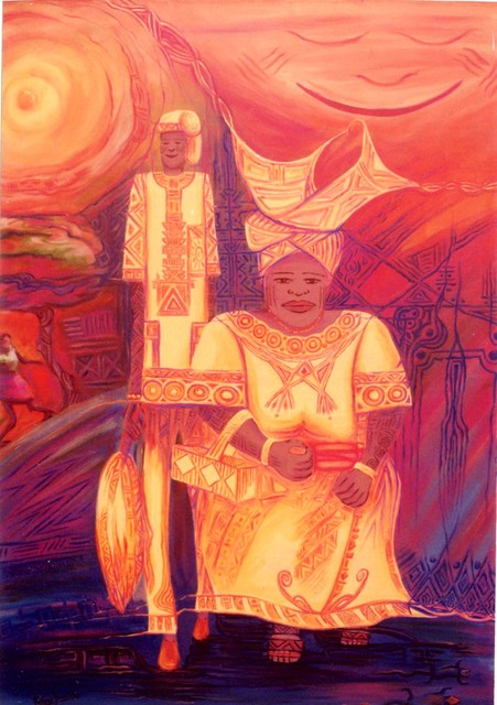 Rasheed Amodu  'The Perfect Couple', created in 2004, Original Pastel Oil.