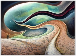 Freydoon Rassouli: 'looking for infinity', 2015 Oil Painting, Mystical. Artist Description: A surrealism, abstract landscape and cosmic fantasy painting by Rassouli...