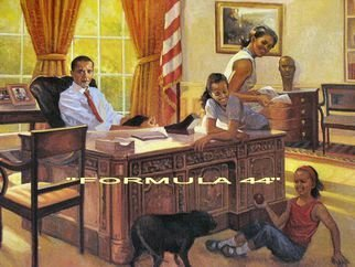 Ron Anderson: 'Formula 44', 2013 Oil Painting, Political.  Original oil painting by Ohio artist Ron Anderson. Painting entitled Formula 44. Depiction of President Barack Obama and family. Painting is priced and sold unframed. Buyer is responsible for all shipping fees, insurance costs and any applicable sales tax and duties. Artist reserves all rights to reproduction and copyright. ...