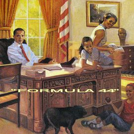 Ron Anderson: 'Formula 44', 2013 Oil Painting, Political. Artist Description:  Original oil painting by Ohio artist Ron Anderson. Painting entitled Formula 44. Depiction of President Barack Obama and family. Painting is priced and sold unframed. Buyer is responsible for all shipping fees, insurance costs and any applicable sales tax and duties. Artist reserves all rights to reproduction and ...