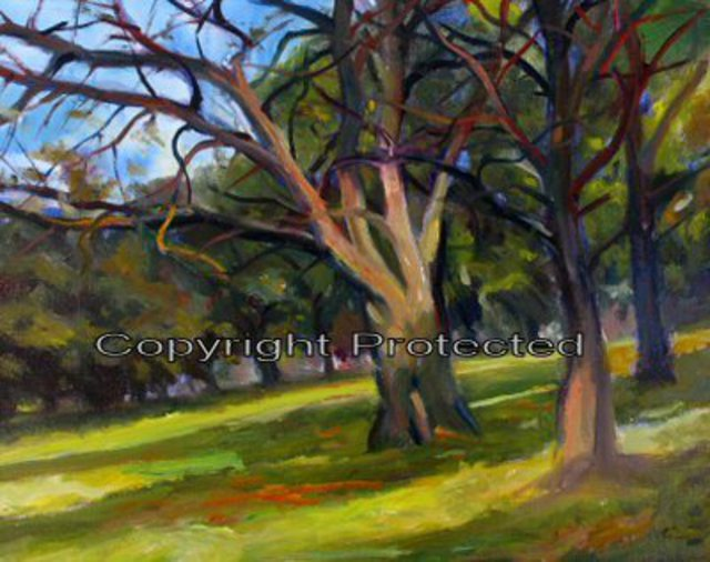 Ron Anderson  'Franklin Park In The Afternoon', created in 2005, Original Painting Oil.