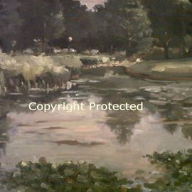 Ron Anderson Artwork Skipping Rocks, 2010 Oil Painting, Landscape