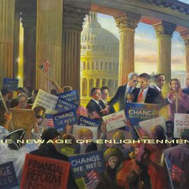 Ron Anderson Artwork The New Age of Enlightenment, 2010 Oil Painting, Political