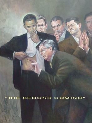 Ron Anderson: 'The Second Coming', 2013 Oil Painting, Political. Original oil painting by Ohio artist Ron Anderson. Painting entitled The Second Coming. Depiction of President Barack Obama. Painting is priced and sold unframed. Buyer is responsible for all shipping fees, insurance costs and any applicable sales tax and duties. Artist reserves all rights to reproduction and copyright. ...