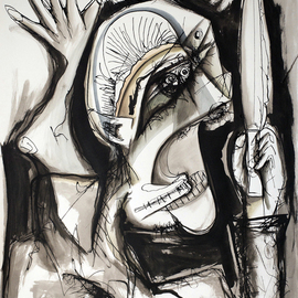 Raul Canestro Caballero: 'ALEXANDER', 2015 Ink Painting, Abstract Figurative. Artist Description: Painting Ink on paper Arches 300 g/ m2                                                           ...