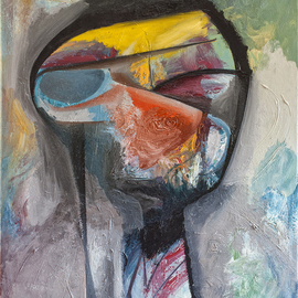 Raul Canestro Caballero: 'Head of a Man ', 2015 Oil Painting, Abstract Figurative. Artist Description:     Head of a Man5- 5- 2015 Oil on Linen                                                                                   ...