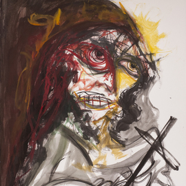 Raul Canestro Caballero: 'MAN WITH CROSS', 2015 Ink Painting, Abstract Figurative. Artist Description: Painting Ink on paper Arches 300 g/ m2                                                              ...