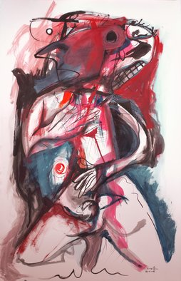 Raul Canestro Caballero: 'PRAYER IN THE AFTERNOON', 2015 Ink Painting, Abstract Figurative.  2015 Painting Ink and Watercolor on paper Arches 356 g/ m2  25. 5 in. x 40 in.                                                                      ...