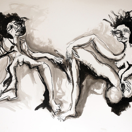 Raul Canestro Caballero: 'THE PAINTER AND THE MODEL', 2015 Ink Painting, Abstract Figurative. Artist Description: Painting Ink and Watercolor on paper Arches 356 g/ m2                                                                   ...