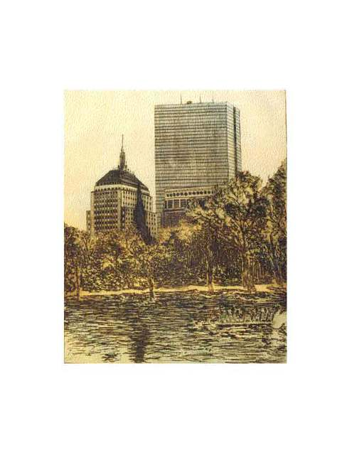 Robin Richard Emrich  'Hancock Towers', created in 1999, Original Printmaking Etching - Open Edition.