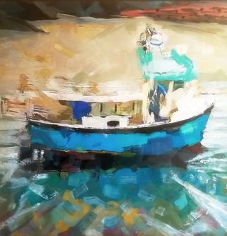 Ray Burnell: 'porthgain lobster boat', 2019 Oil Painting, Seascape. Artist Description: Wales Pembrokeshire Porthgain fishing boat lobster seascape oil on mdf board 30x30 cm...