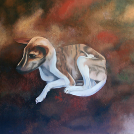Rebeca Calvogomez Artwork On Humanit II, 2010 Oil Painting, Dogs
