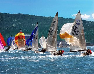 Dick Drechsler: 'competitive chaos', 2018 Color Photograph, Yachting. Artist Description: The 505 Nationals in San Francisco Bay as seen from the Press Boat. ...