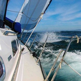 Dick Drechsler: 'hard on the wind', 2018 Color Photograph, Sailing. Artist Description: This picture was taken on a Catalina 470 as she beat into the wind off the west coast of Baja, Mexico. ...
